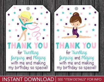 Gymnastics Favor Tags • Gymnastics Birthday Party Favor Tags • Printable Digital File • INSTANT DOWNLOAD