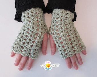 Crochet Lacy Fingerless Gloves Pattern - Texting Gloves with Vintage Split Shell Pattern! - PDF