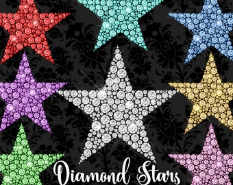 70% OFF Diamond Stars Clipart, princess Rhinestone Sparkle png diamond clip art, wedding and Valentine's PNG star overlays instant download