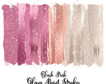 Blush Pink Glam Paint Strokes Clipart, watercolor pink and ivory  pearl glitter, brush stroke clip art, shimmering sparkle png overlays