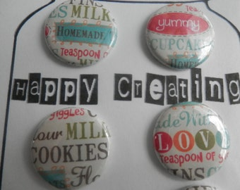 6 BAKERS DELIGHT Buttons, Flairs, Pins That include Words like Homemade and more