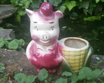 Vintage Pig Planter, Porky Pig, Shawnee, Shawnee Pig Planter, Farmer Pig, Kitsch, Kitschy, Vintage  Planter