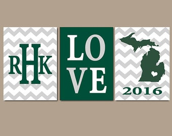 Michigan State Chevron Custom Family College Monogram Initial State LOVE School University Gift Wedding Set of 3 Wall Art Canvas or Print