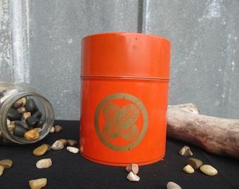 Vintage Orange Metal and Gold Canister - Orange Metal Kitchen TIn - Vintage Metal Storage Tin