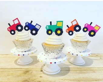 Tractor Cupcake Toppers, set of 12