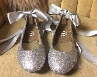 silver glitter lace up ballet flats. Custom made to order. Woman sizes only.