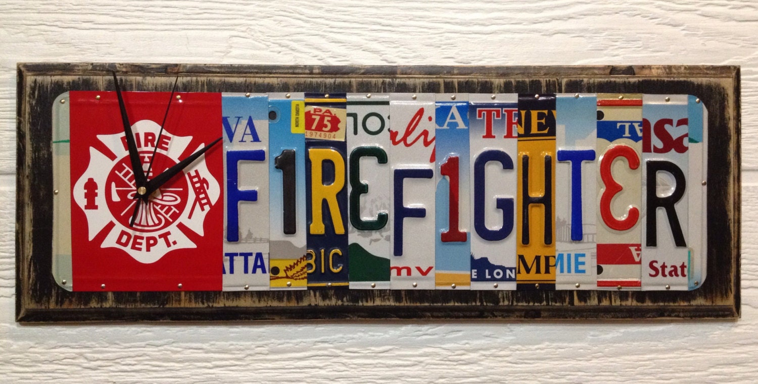Firefighter License Plate Art Clock Recycled Aluminum Gift