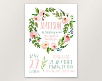 Floral St Birthday Invitation Girl First Birthday - Digital first birthday invitation