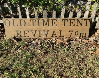 """11""""x48"""" Oversize Tent Revival Sign   Tent Revival Sign   Farmhouse  Look"""