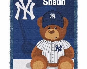 MLB New York Yankees Field Baby Bear Throw Blanket - Personalized