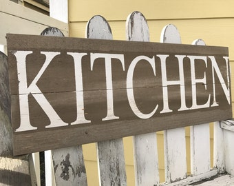 Distressed Kitchen Sign - White Kitchen Sign - Grey Kitchen Sign - Kitchen Wall Hanging - Rustic Kitchen Decor - Foodie Gift - Wooden Sign