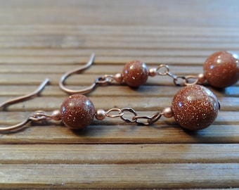 Goldstone and copper glimmering earrings
