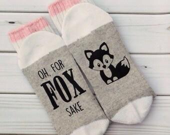 PINK Oh For Fox Sake Socks- Funny socks, Birthday Gift, funny gift, funny sayings, wine socks
