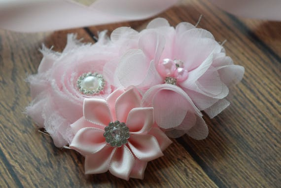light pink Flower Baby clip, Newborn clip,  Infant Headband,Baby Headband, Headband Baby, Baby Headband, baptism  headband