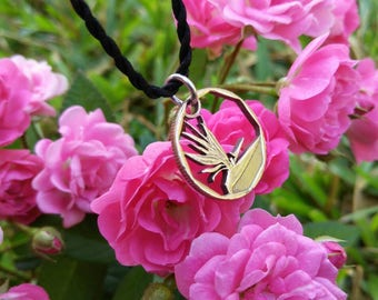 """Bird of Paradise Flower South Africa Cut Coin Pendant by """"The Coins Shop"""""""