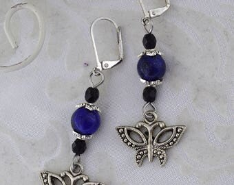 Butterfly Garden - butterfly earrings - Gemstone butterfly earrings - blue and black antique silver tone - purple and crystal ab