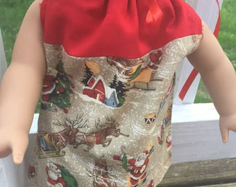 Red and Santa American girl pillowcase dress