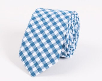"""Aqua Gingham Tie.Wedding Tie.Cotton Skinny Tie.2.5"""" Tie.Gift For Men"""