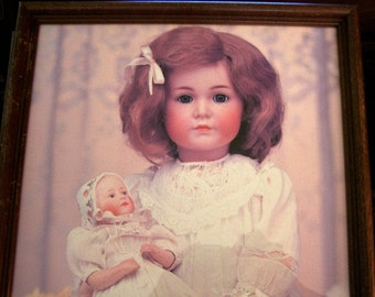 Gorgeous Antique Bisque Doll Picture in Frame