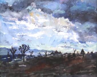 """June Drane """"Moment in Time"""" California desert scene, gouache, sunrise with Joshua Trees"""