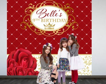 Beauty Princess Party Personalized Photo Backdrop -Royal Princess Step and Repeat Photo Backdrop- Red Roses Birthday Photo Booth Backdrop