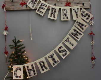 Merry Christmas Banner/Plaid Banner