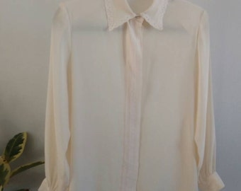 Vintage/ Cream Silk Blend Blouse With Braided Detail