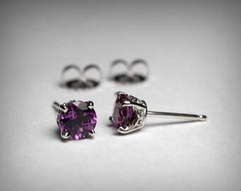 14K Amethyst Stud Earrings, Genuine AAA Amethyst Earring Studs, 14K White or Yellow Gold Stud, Amethyst Jewelry February Birthstone Earrings