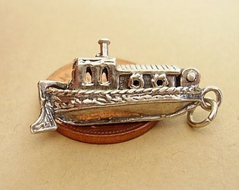 Sterling Silver Barge Canal Boat Opening Charm