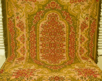 B870 -Divine Antique French Roses Tapestry Tablecloth / Throw / Rug With Fringe