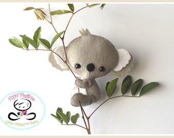 Baby Koala PDF sewing pattern-DIY-Koala bear toy pattern-Australian animals-Nursery decor-Instant download-Baby's mobile toy-Felt Koala Bear