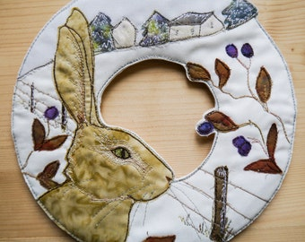 "Pattern kit for Winter Hare Wreath 8""  with Printed pattern raw edge applique tutorial free motion embroidery"