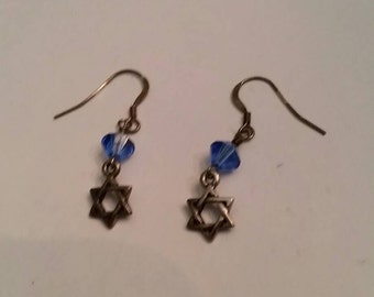 Vintage Dangle Star Earrings Blue Stone Sterling Silver
