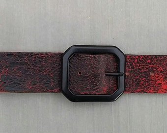 Women's Red Distressed Leather Belt