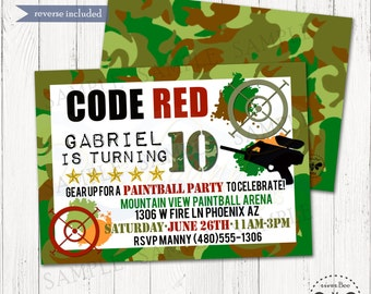 Camoflauge Paintball Birthday Invitation Printable / Camo Party Invite / Digital Birthday Invitation