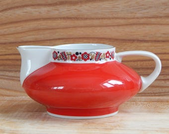 Vintage Red White Porcelain Creamer Made in GDR FREIBERGER Porcelain Creamer