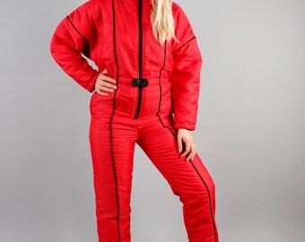 90' 80s Retro Ski Suit Salmon Red Snowsuit Ski Suit All in One Suit Hipster Snow Suit Outdoor Wear Snow Gear Jumpsuit Snowboard Size Medium
