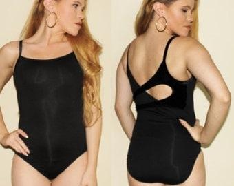 Vintage 90s Black Swimsuit One Piece Bathing Suit Swim Suit Cutout Back 1990s Velvet Bodysuit Small