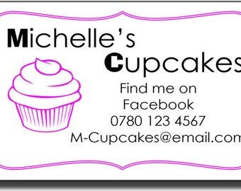 42 Large Personalised Cupcake Self Adhesive Labels