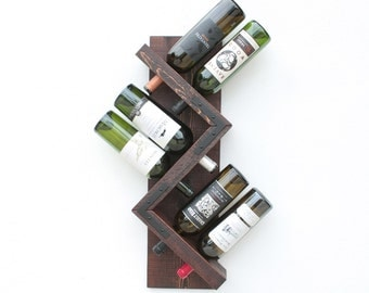 Zig Zag Rustic Wine Rack, Sturdy Wood Wall Mounted Wine Display