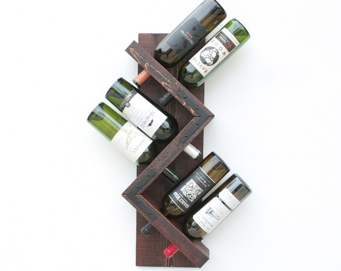 Unique Zig Zag Wine Rack, Rustic Wood Wall Mounted Wine Display