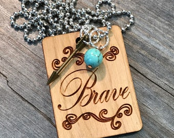 Brave Arrow Necklace, Group Gift Ideas, Group Discounts, Wedding Gifts, Laser Engraved, Customized Jewelry, Bursting Barns Laser Engraving