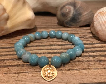 24K Gold Vermeil Lotus and Peruvian Amazonite Bracelet/ boho+bold/ Yogi Style