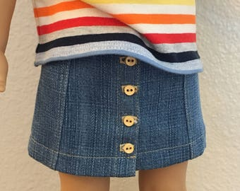 Denim/Tencel Button Front Skirt for American Girl Doll
