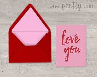 Love Valentine's Day Greeting Card - A2 Folded Card with Red Lined Envelope