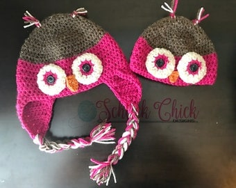 Hand Crocheted Owl Hat