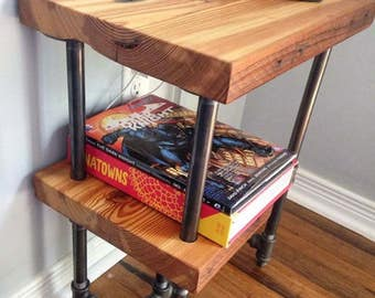 Reclaimed wood and industrial pipe side table || end table || night stand || rustic table