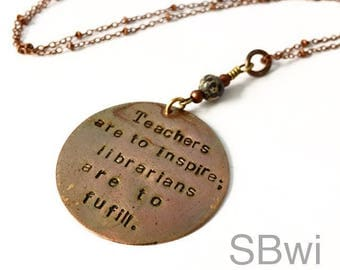 Librarian necklace in copper with Dalmatian jasper detail
