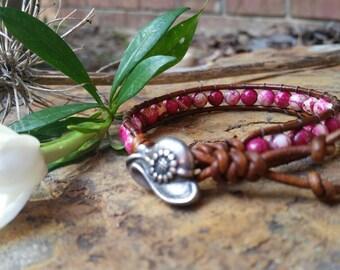 Sundance Style Wrap Bracelet, Chan Luu Style Wrap Bracelet, Boho Style Bracelet, Beaded Leather Wrap Bracelet