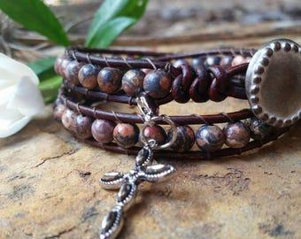 Sundance Style Wrap Bracelet, Western Southwestern, Boho Cowgirl, Leather Beaded Bracelet, Boho Bracelet, Double Wrap, Chan Luu Style